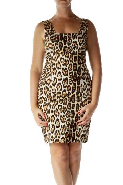 Beige Black Leopard Print Cocktail Dress