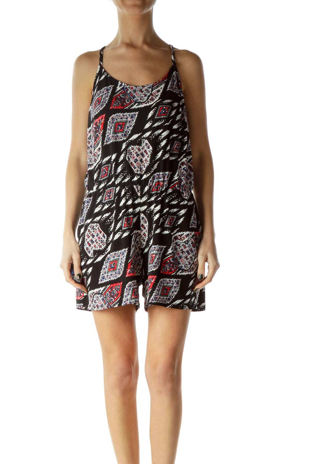 Black Red Printed Romper