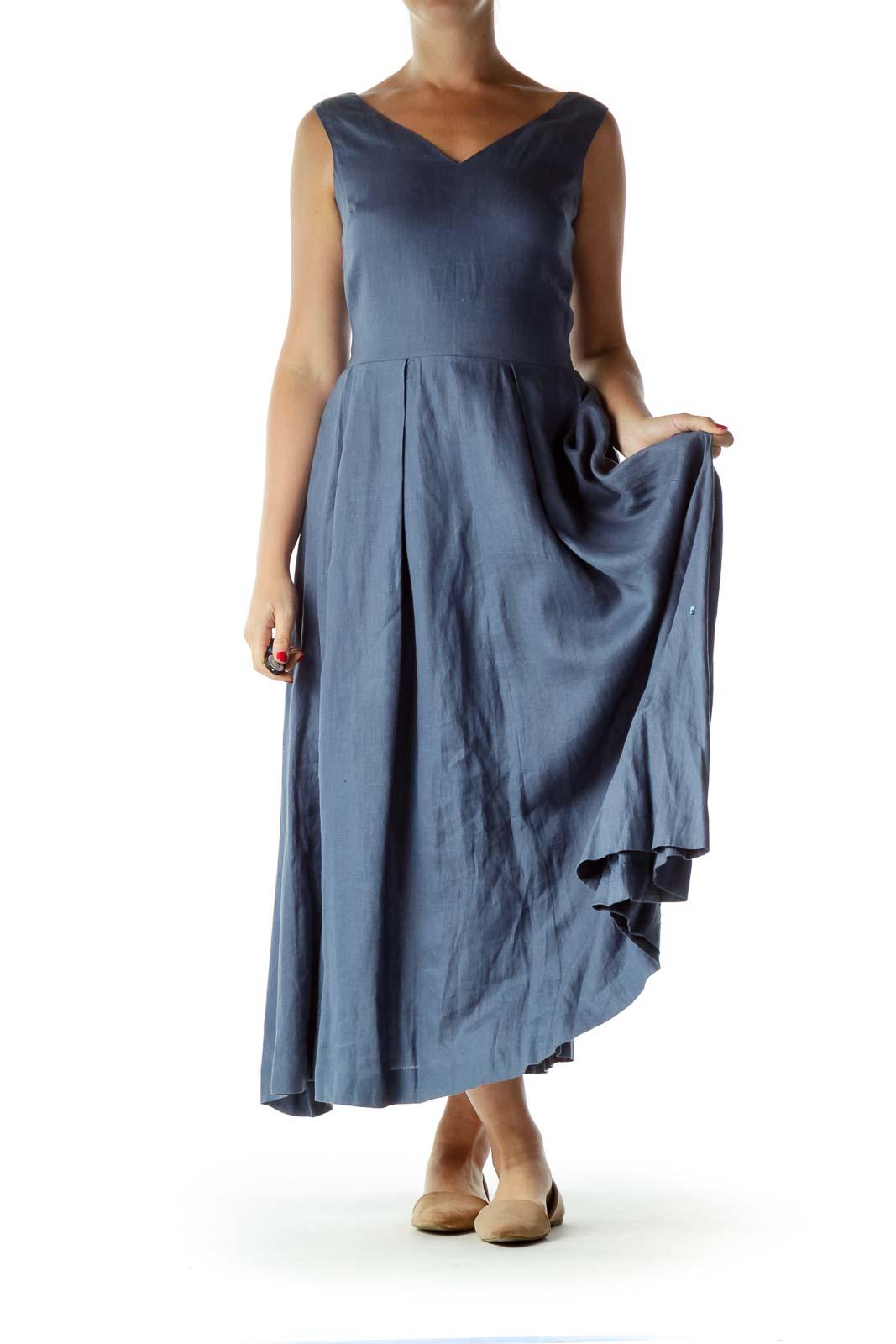 Blue V-Neck Linen Maxi Dress