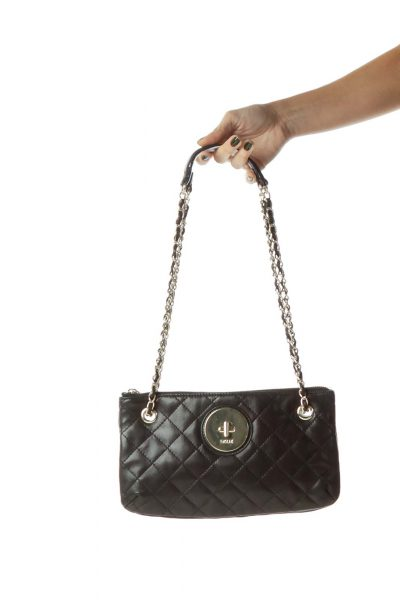 Black Leather Chain Quilted Crossbody Bag
