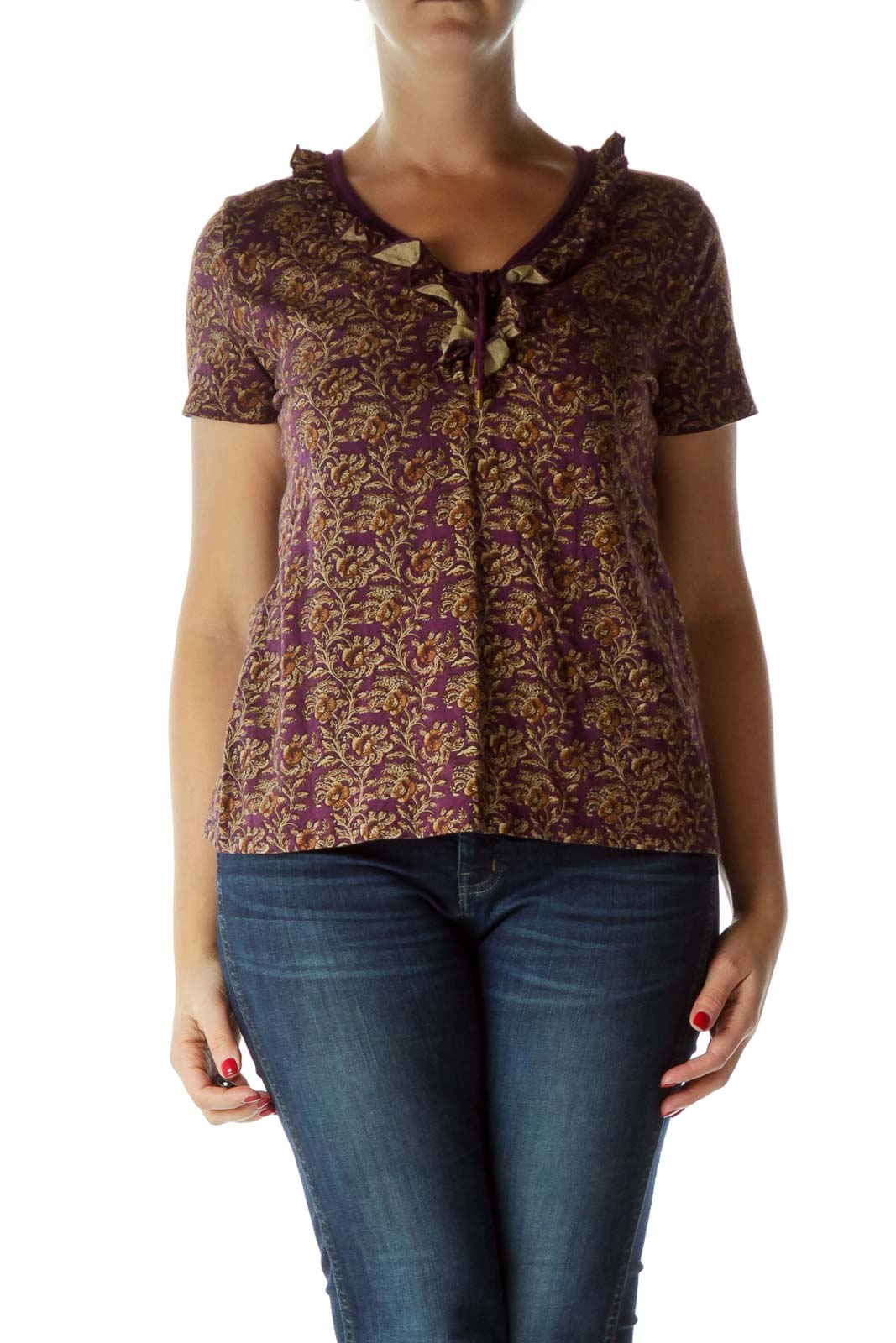 Purple Print Stringed Short Sleeve Blouse