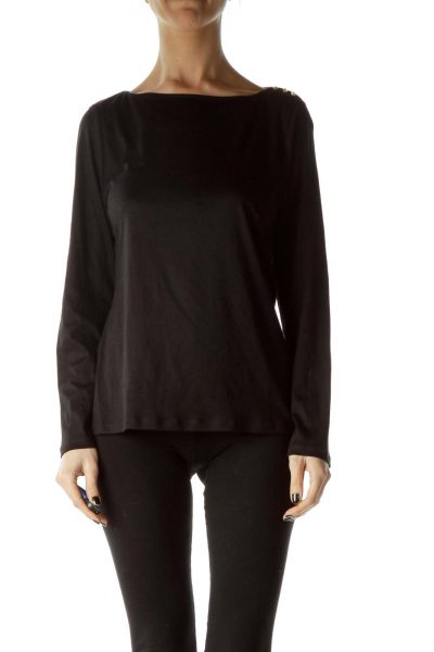 Black Shoulder-Accented Long-Sleeve Top