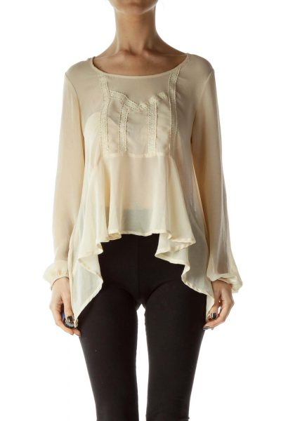 Beige Knit-Detail See-Through Flared Blouse