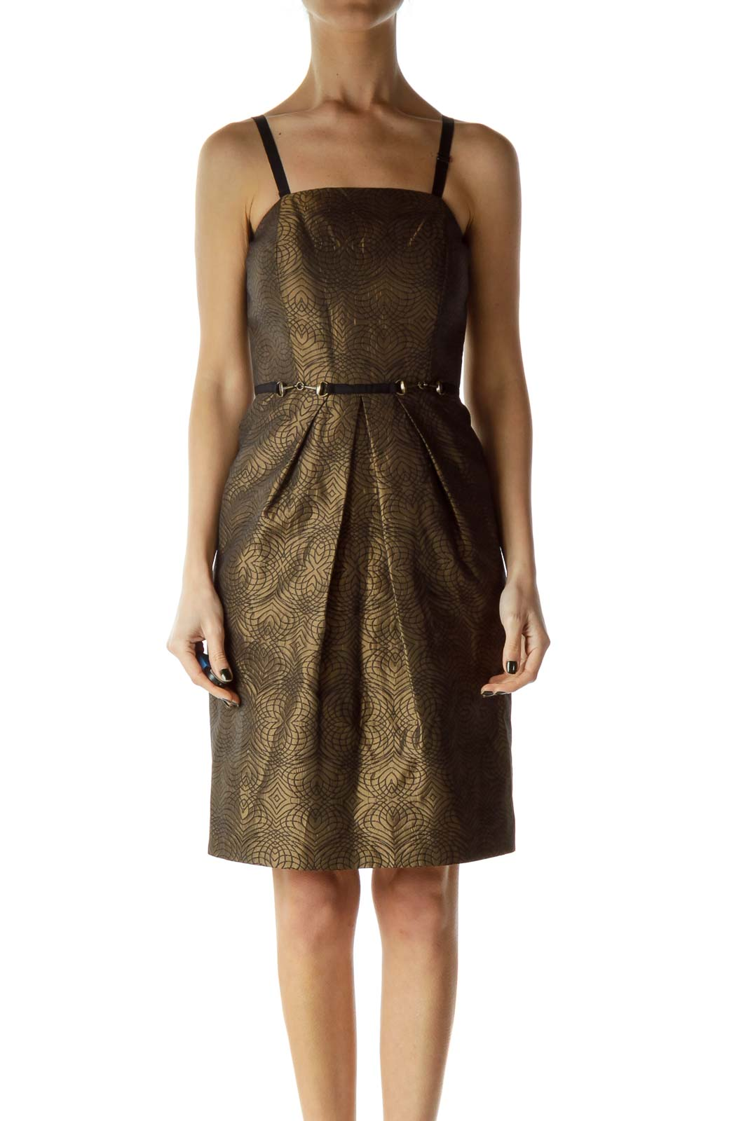 Brown Metallic Printed Cocktail Dress