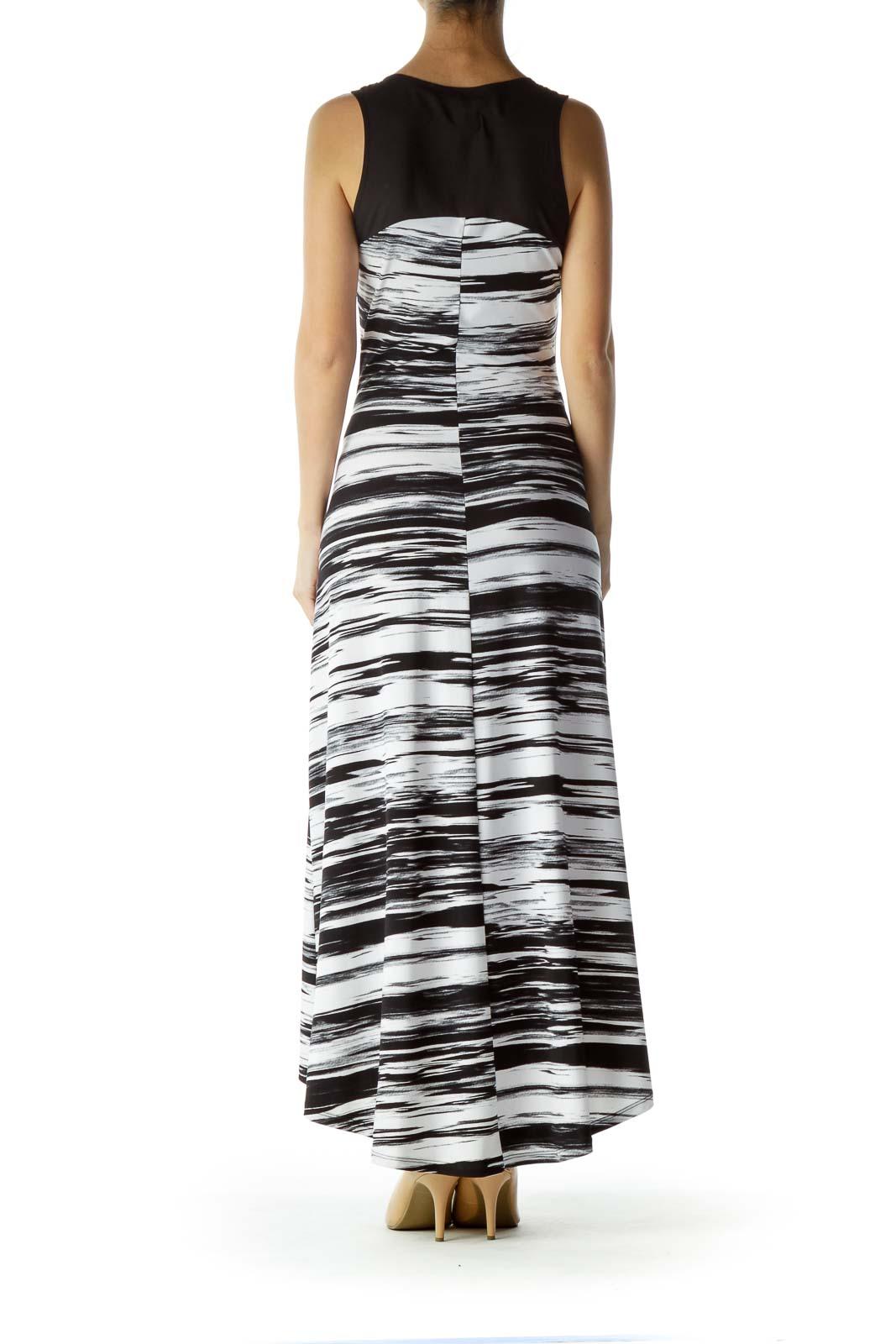 Black White Printed Sleeveless Maxi Dress