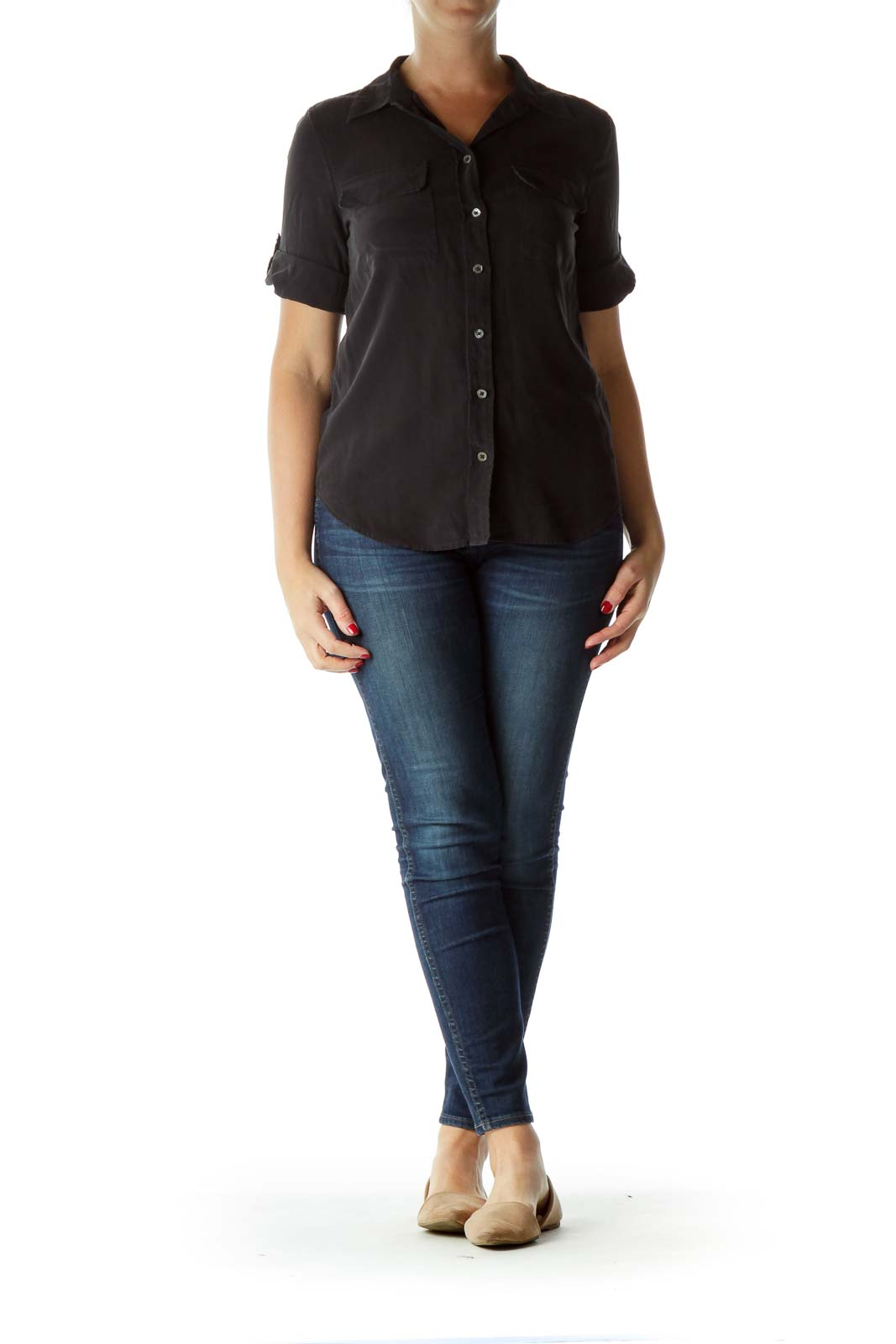 Black 100% Silk Buttoned Pocketed Shirt