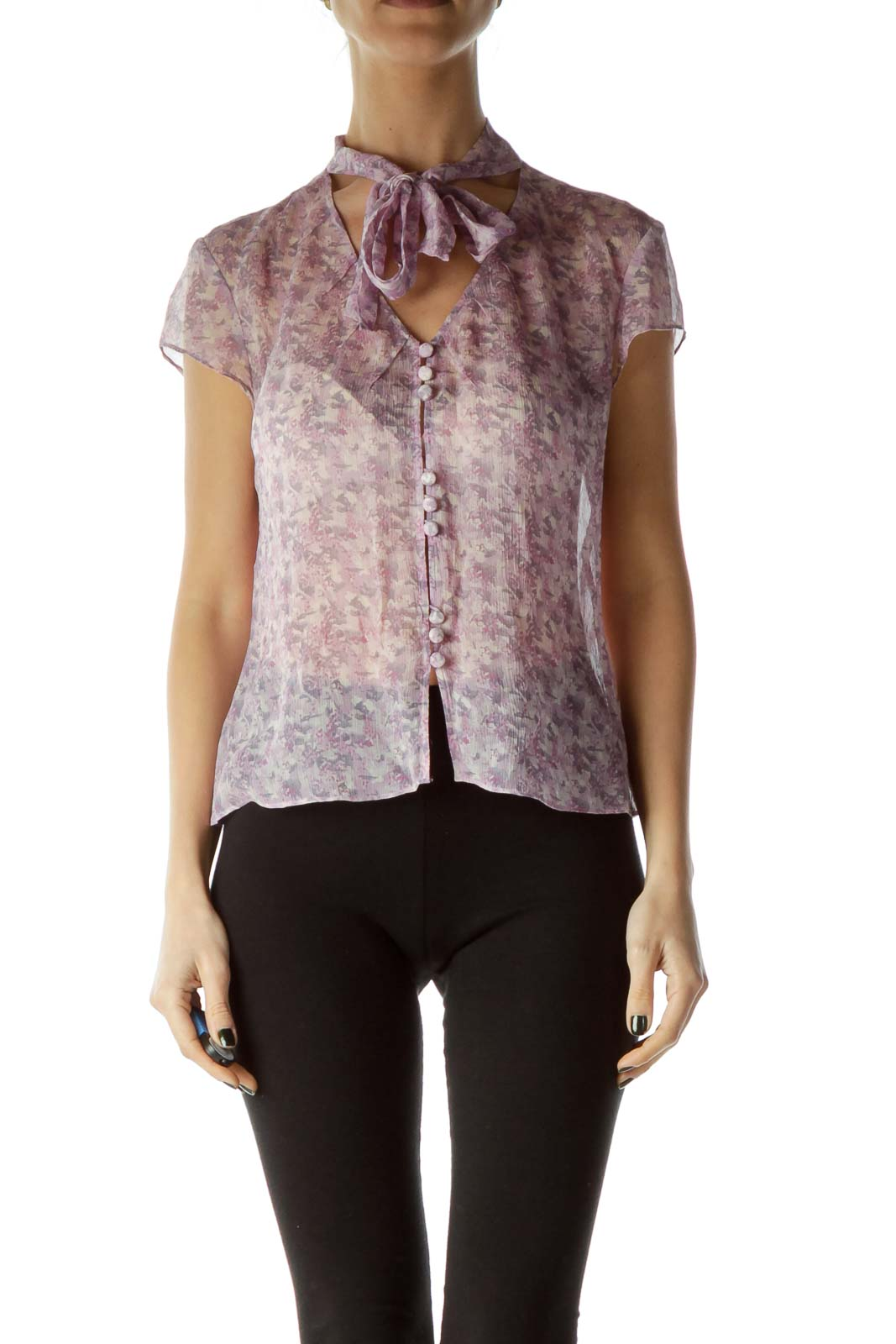 Purple Print Silk Sheer Blouse