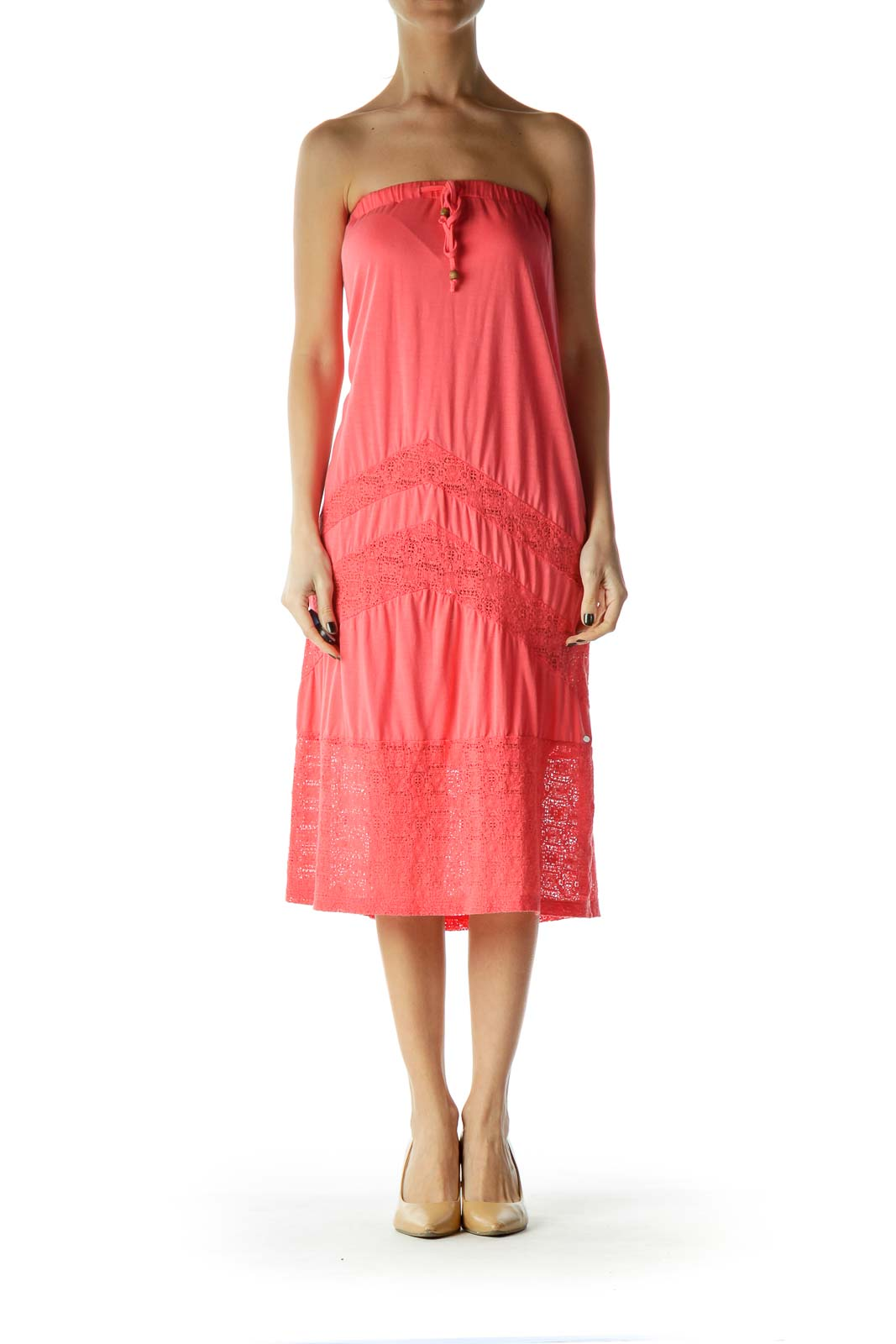 Pink Strapless Jersey Dress with Lace Detail