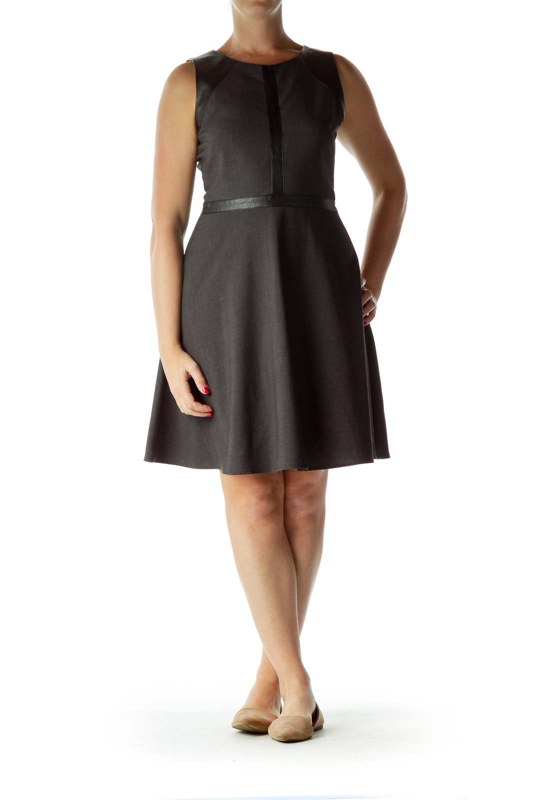 Gray Black Faux Leather Detail Work Dress
