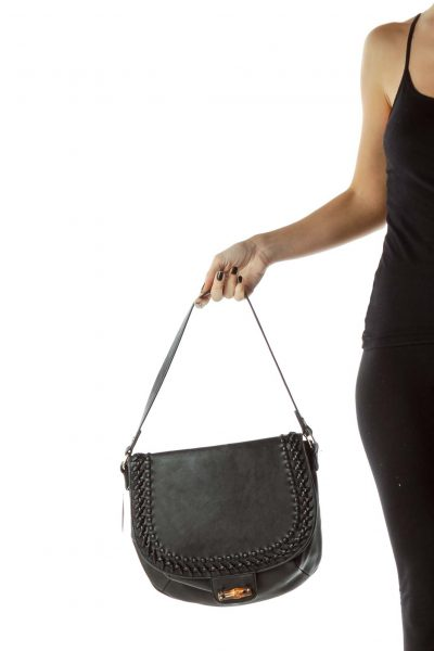 Black Flap Faux-Leather Shoulder Bag