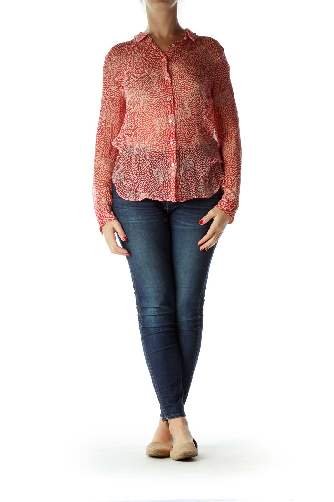 Red Printed 100% Silk See-Through Blouse