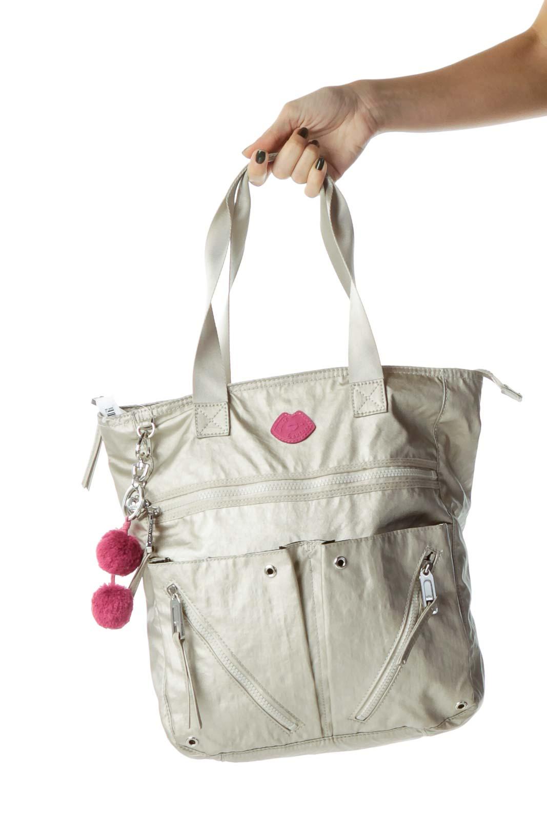 8302b996eea3 Shop Beige Metallic Zipper Detail Tote clothing and handbags at ...