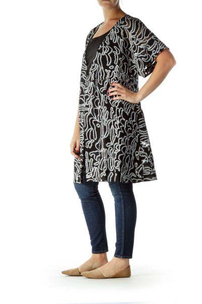 Black White Printed Wrap Work Dress Shell