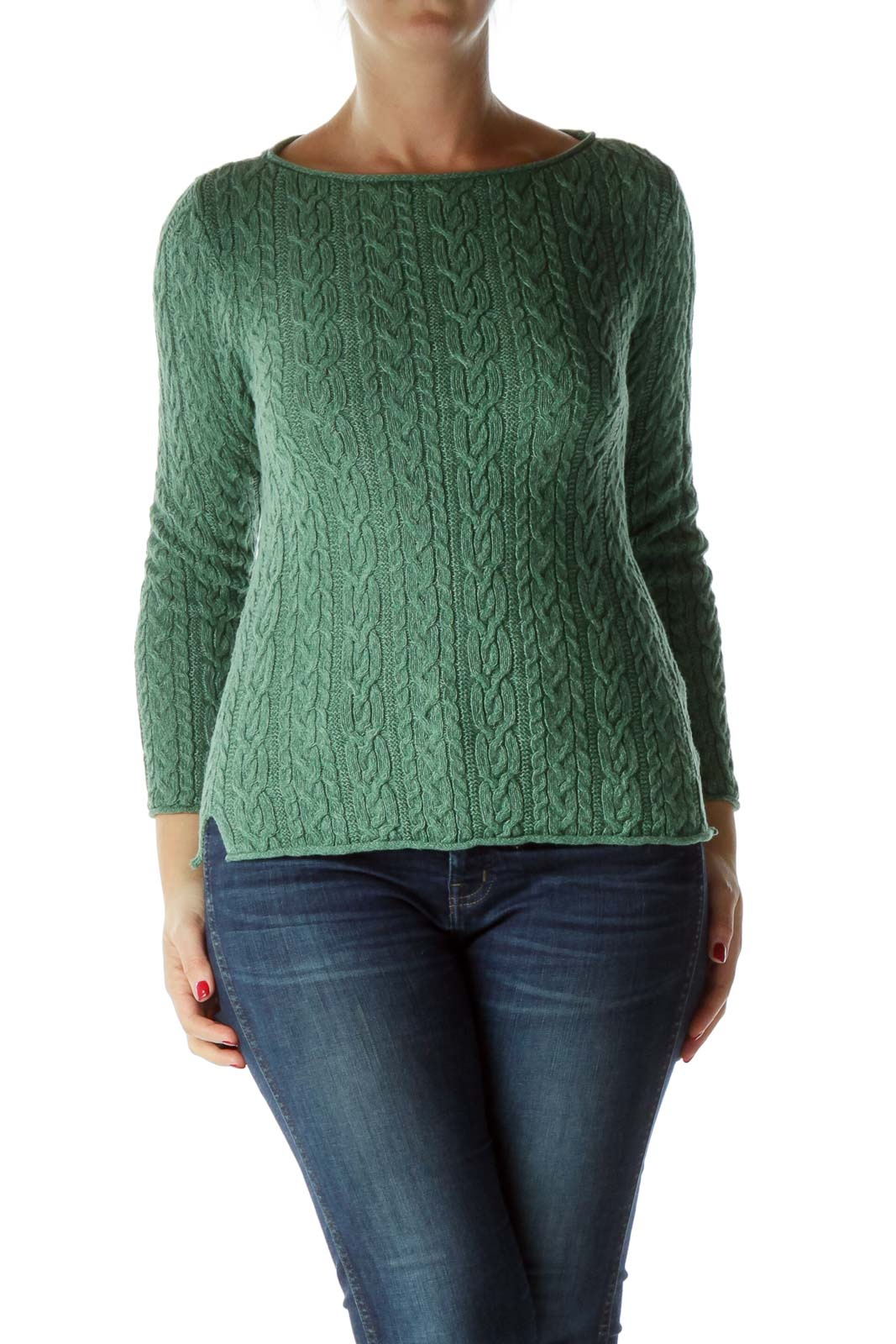 Green White Cable Knit Fitted Sweater