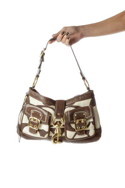 Brown Monogrammed Leather Shoulder Bag