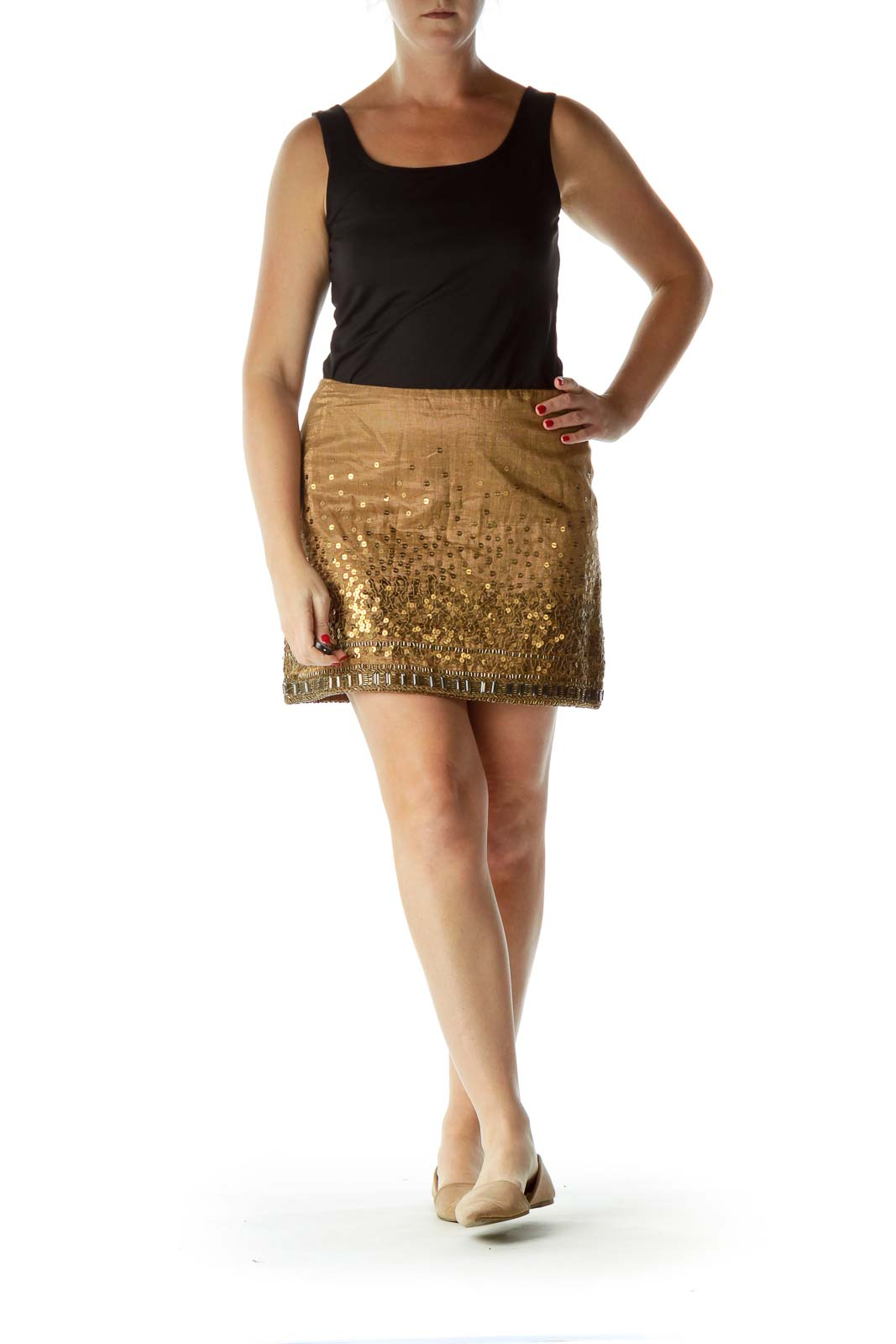 Gold Sequined Beaded Mini Skirt