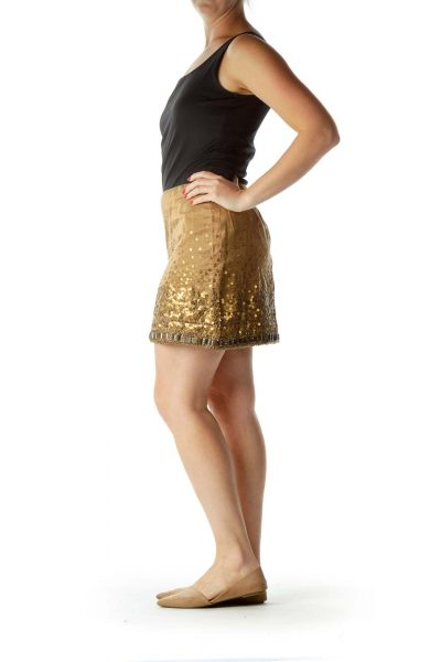 Gold Sequined Beaded Mini Skirt