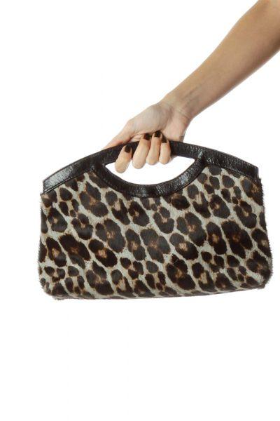 Black Leopard Print Leather Handle Clutch