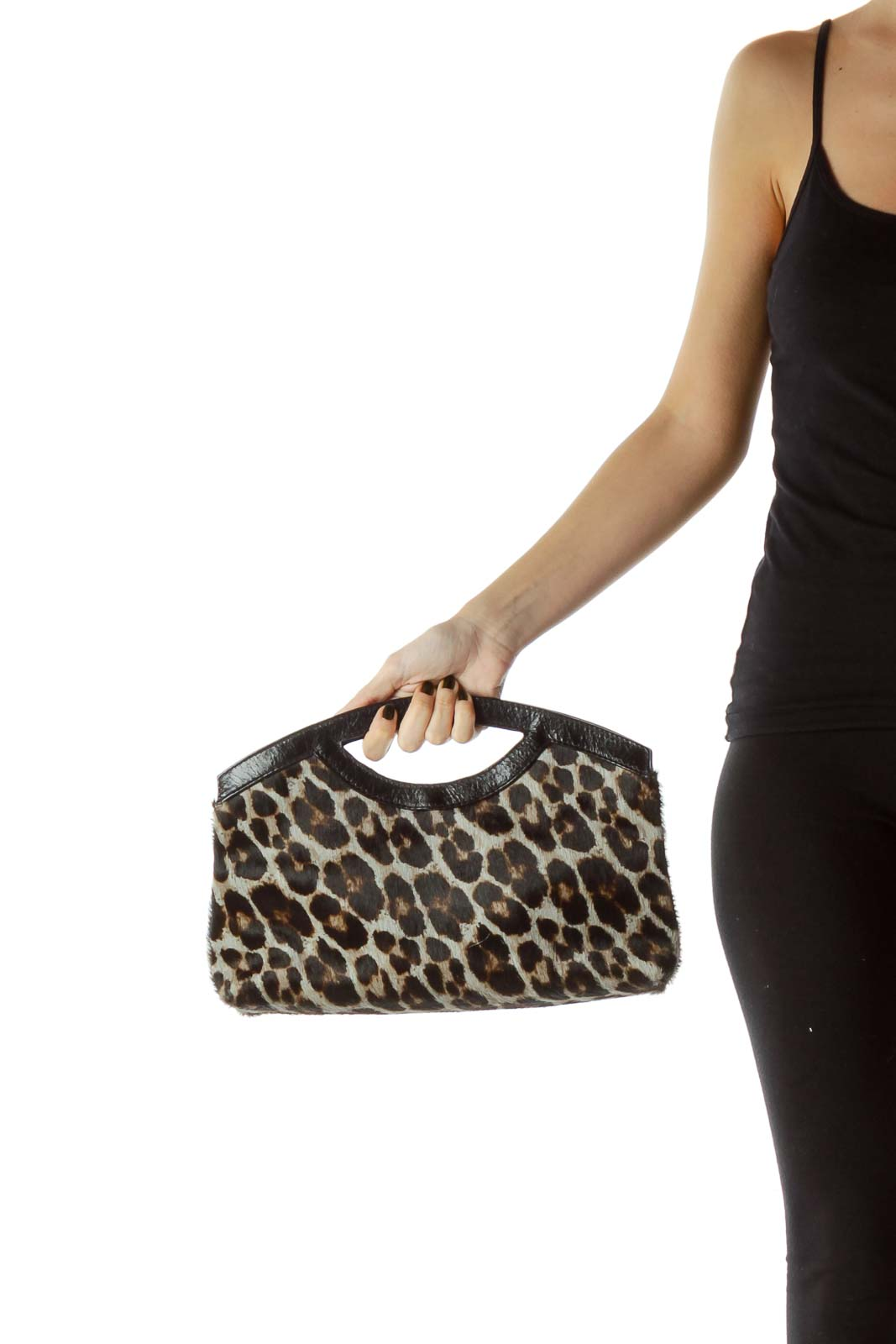 Black Leopard Print Leather Handle Clutch