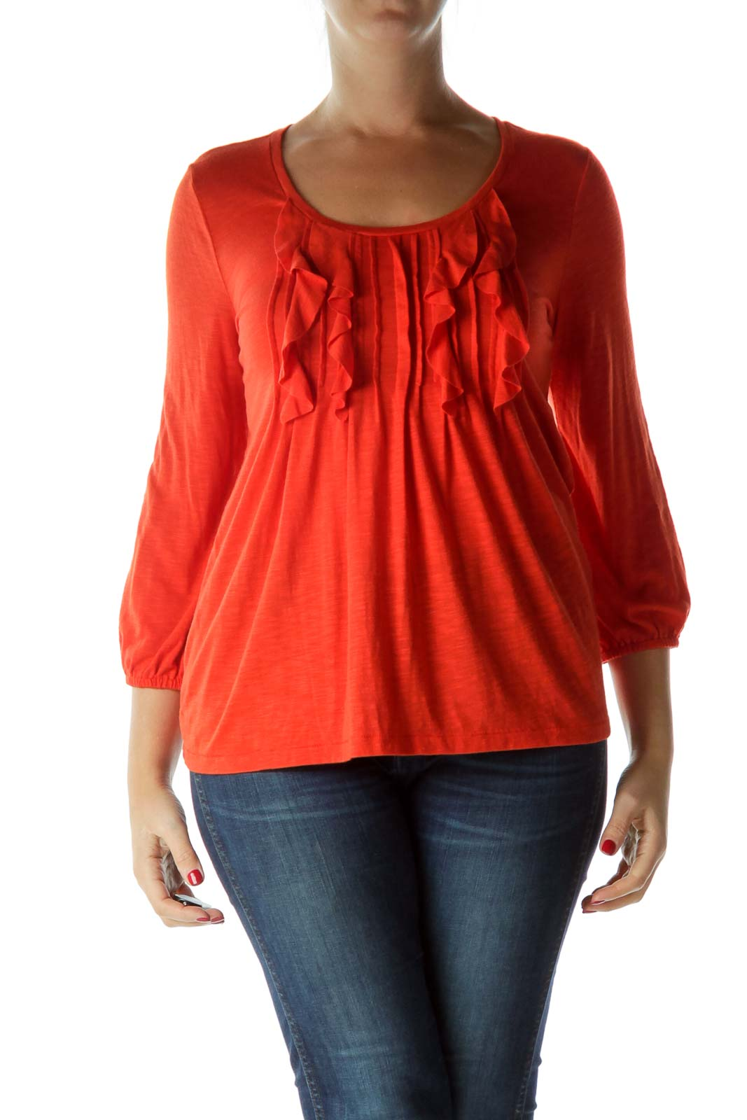 Orange Ruffled 3/4 Sleeve Top