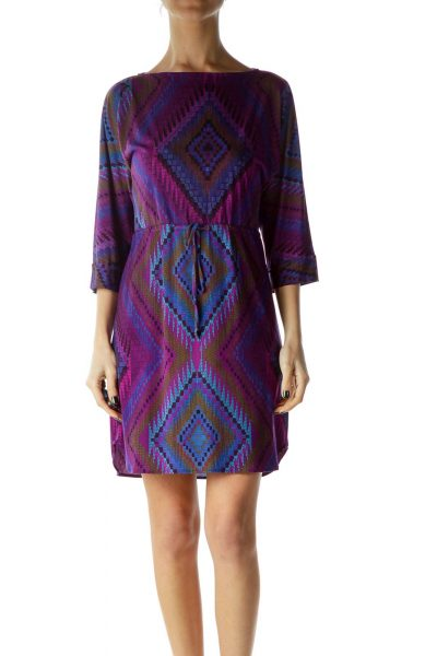Purple Print Boat Neck Dress