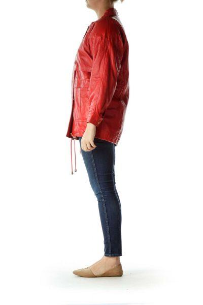 Red Oversized Leather Jacket