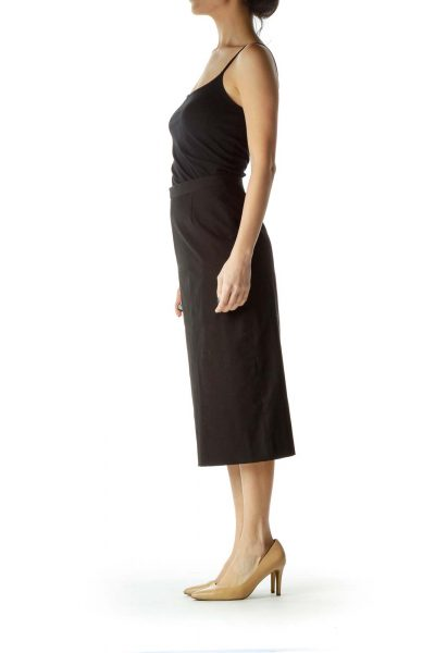 Black Fitted Midi Skirt