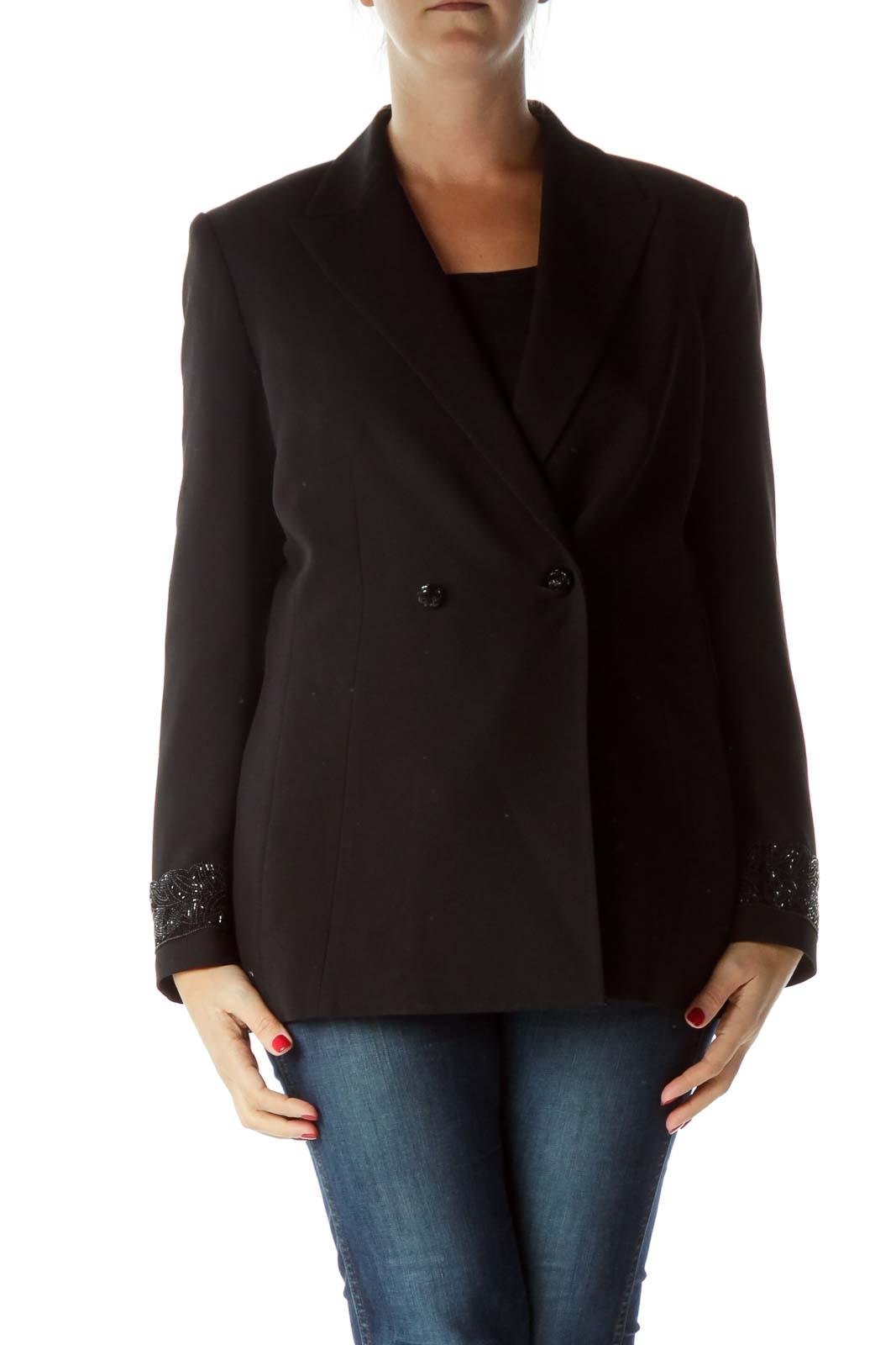 Black Beaded Double-Breasted Jacket