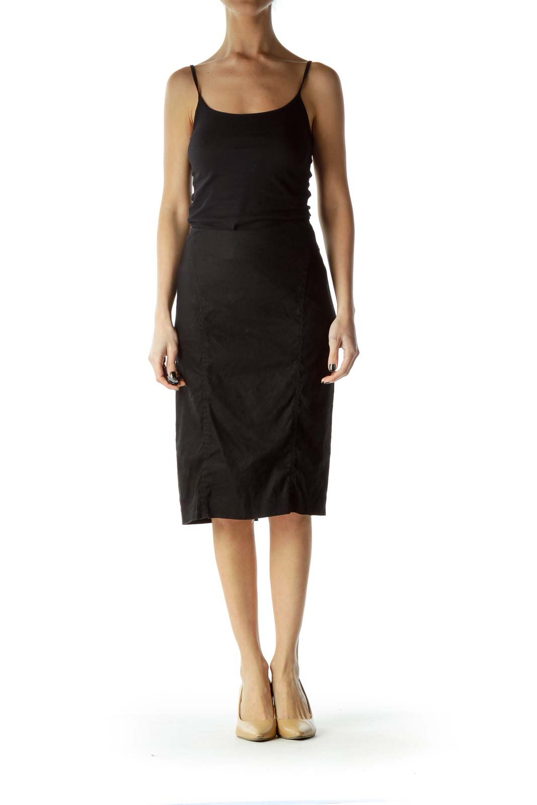 Black Fitted Pleated Skirt