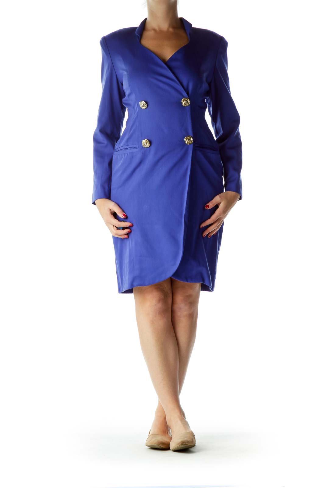 Blue Double-Breasted Vintage Work Dress