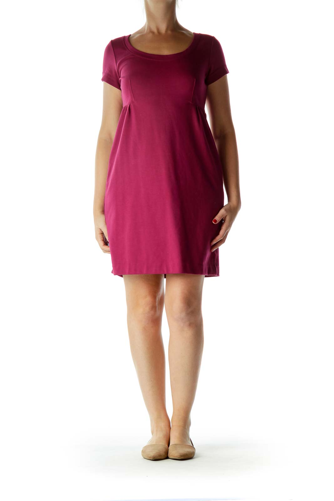 Purple Shortsleeve Round Neck Work Dress