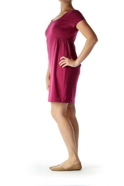 cb275c85eca2 Purple Shortsleeve Round Neck Work Dress Purple Shortsleeve Round Neck Work  Dress