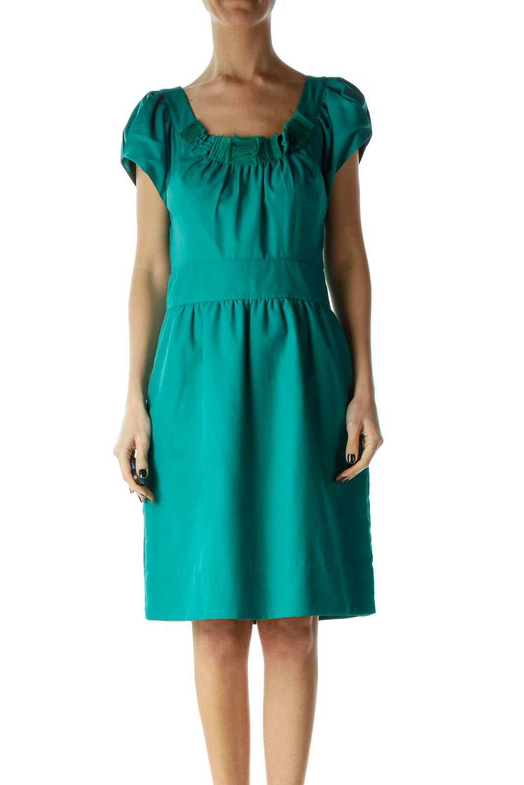 Green Round Neck Ruffled Detail Cocktail Dress