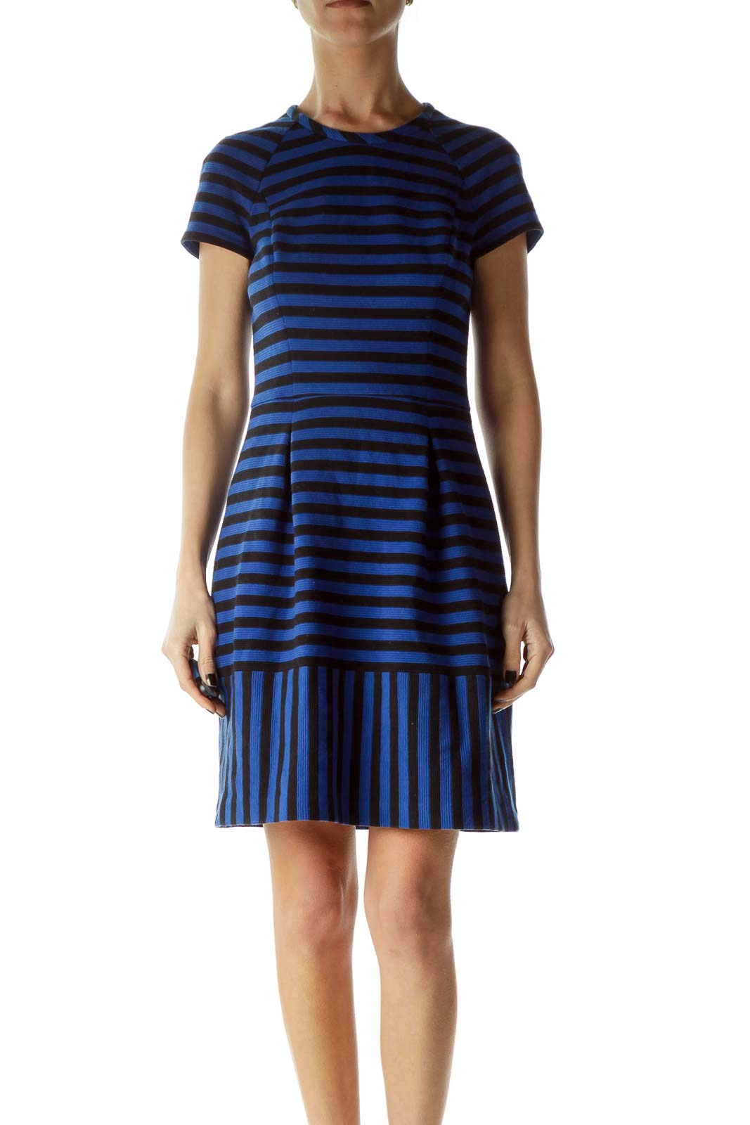 Blue Black Striped Textured A-Line Dress