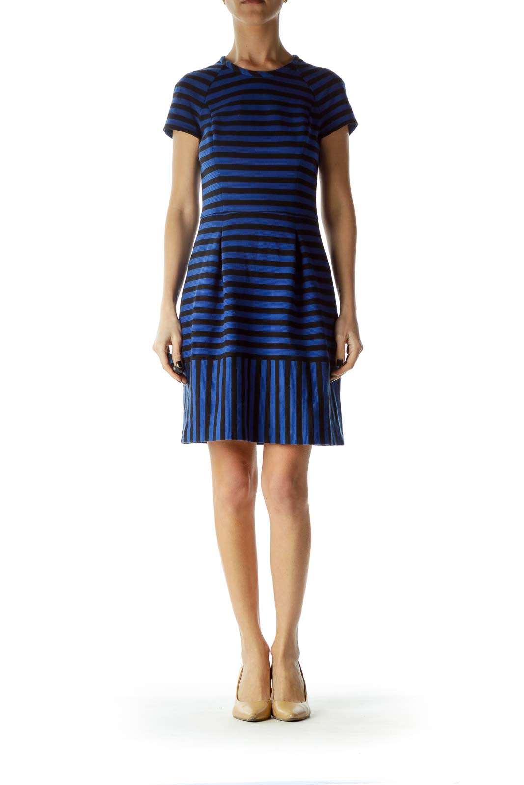 Blue Black Striped Textured A-Line Dress