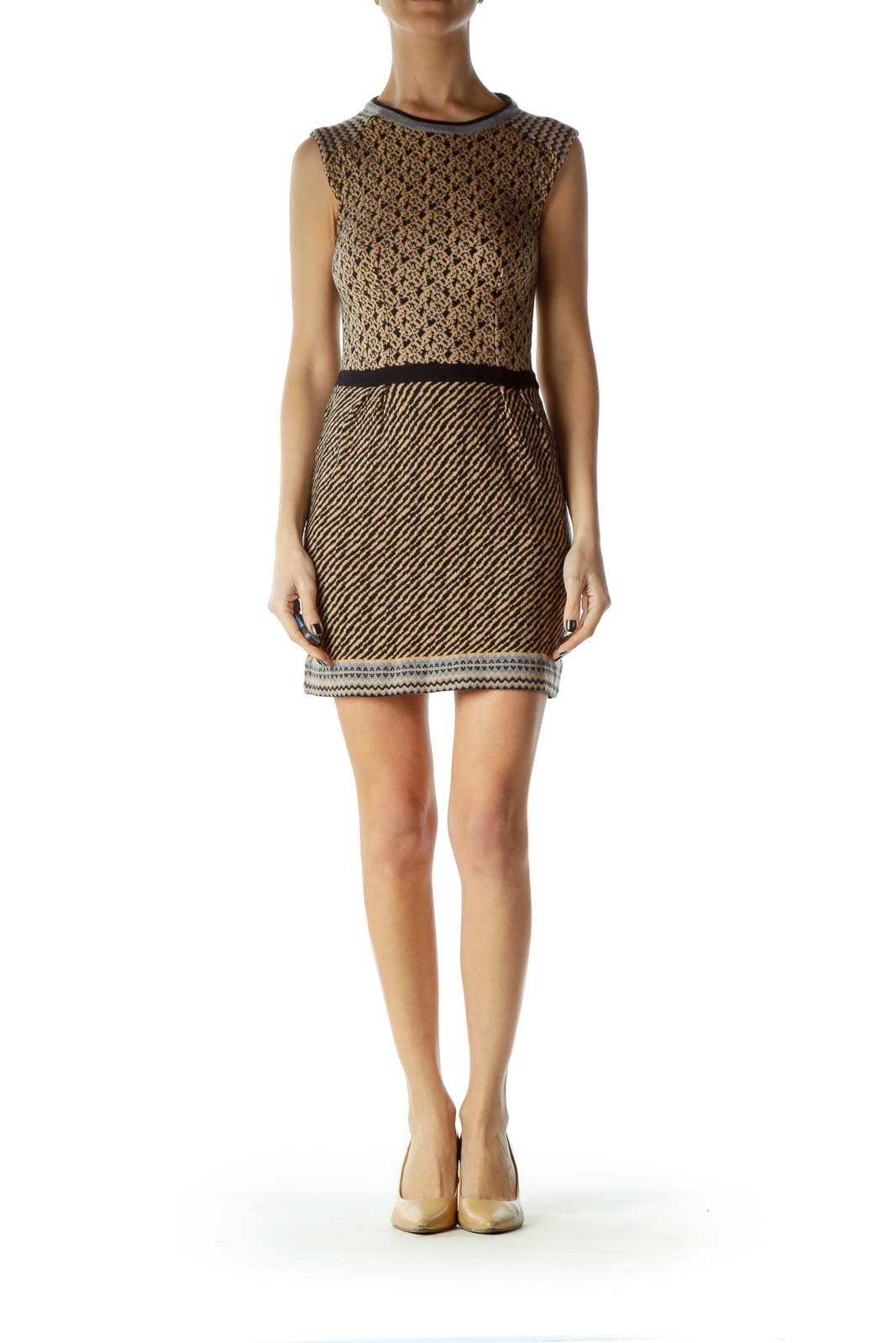 Beige Black Printed Sleeveless Knit Dress