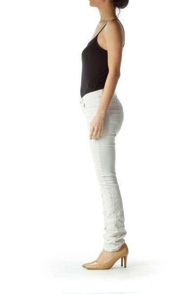 Cream Corduroy Skinny Pants