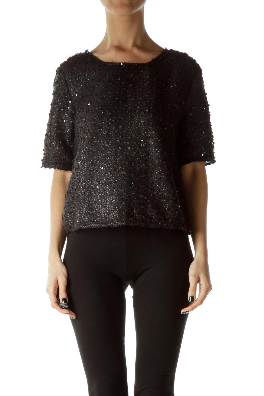 Black Sequined Knit Crop
