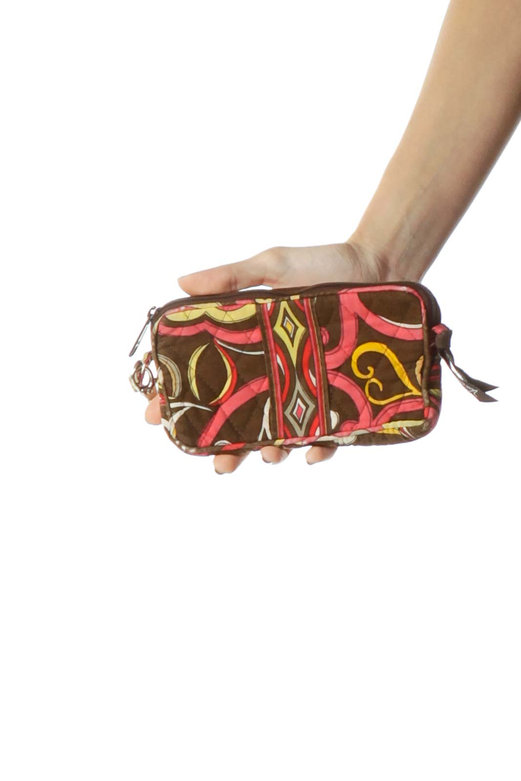 Brown Paisley Print Clutch