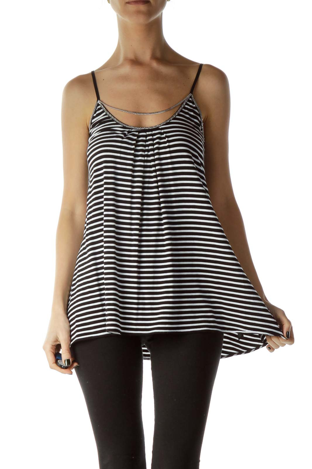 Black White Striped Tank Top with Chain Detail