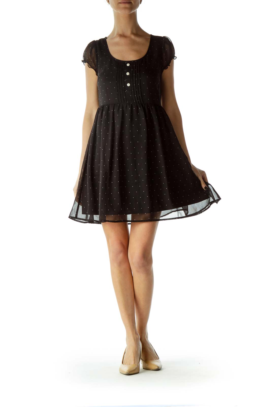 Black White Polka-Dot Day Dress