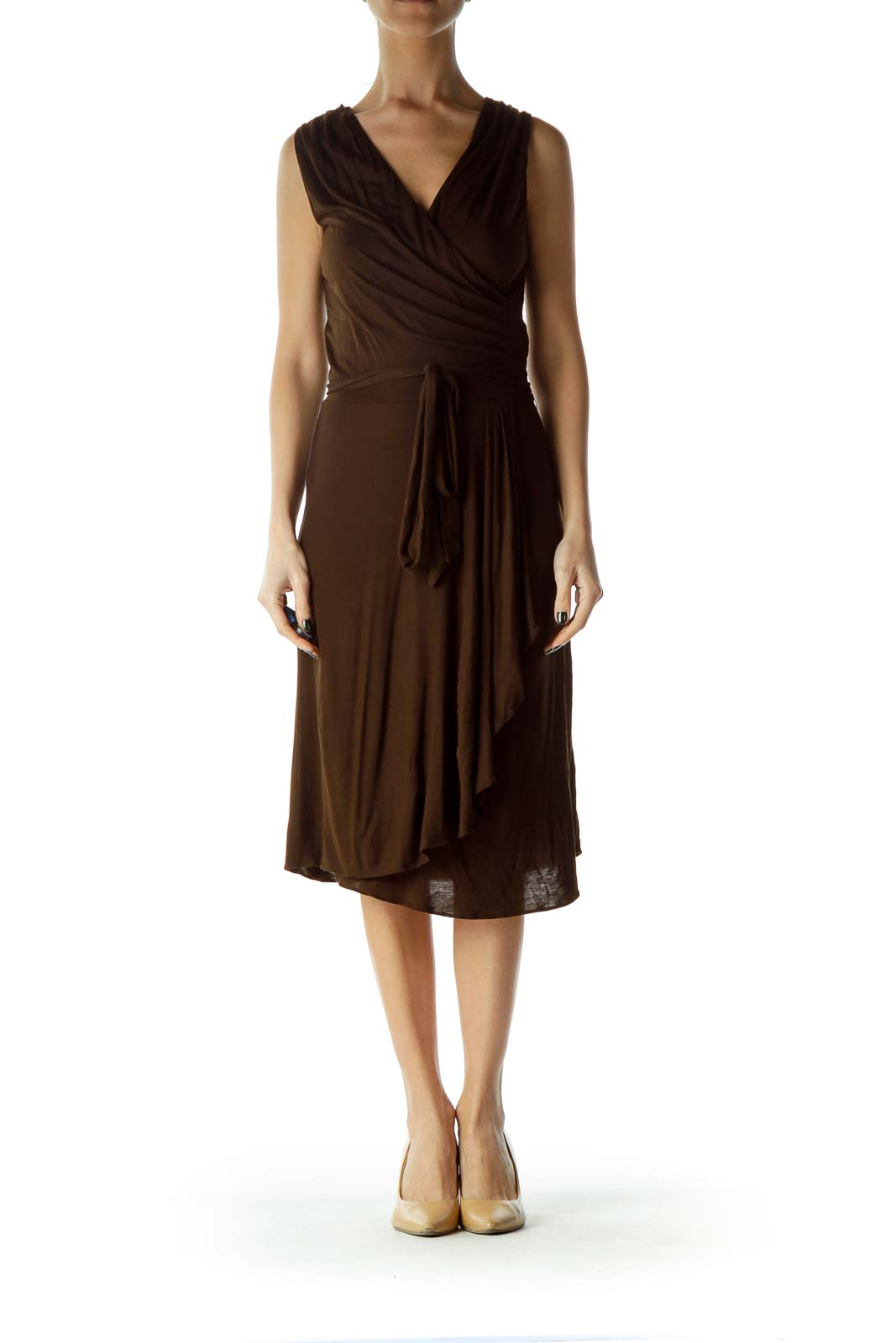 Brown Wrap Ruched A-Line Dress