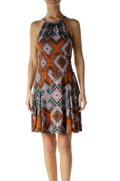 Multicolor Polka-Dot Tribal Print Dress