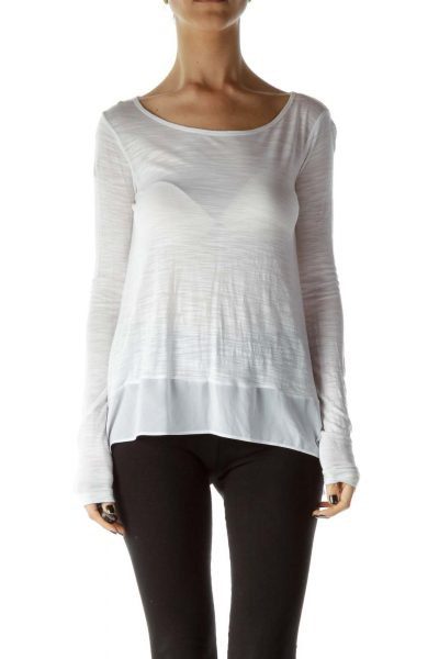 White Boat Neck High Low Long-sleeve Shirt