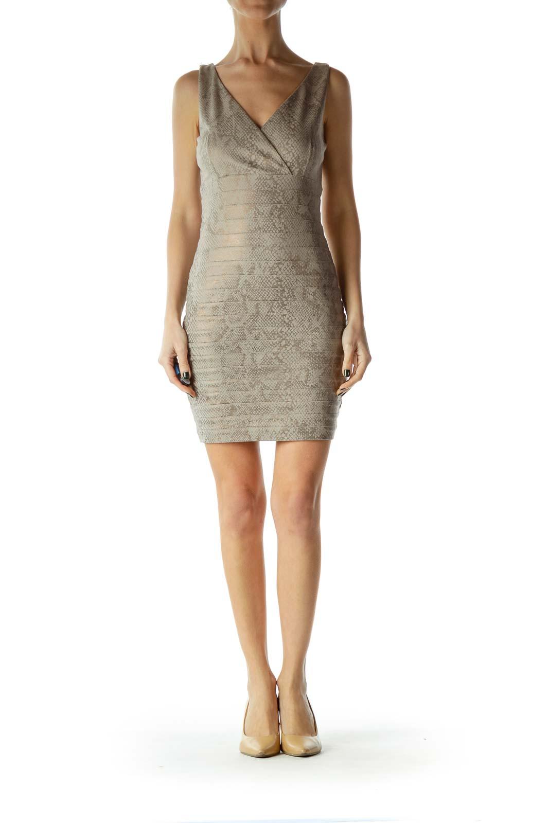 Brown Metallic Snakeskin Print Cocktail Dress