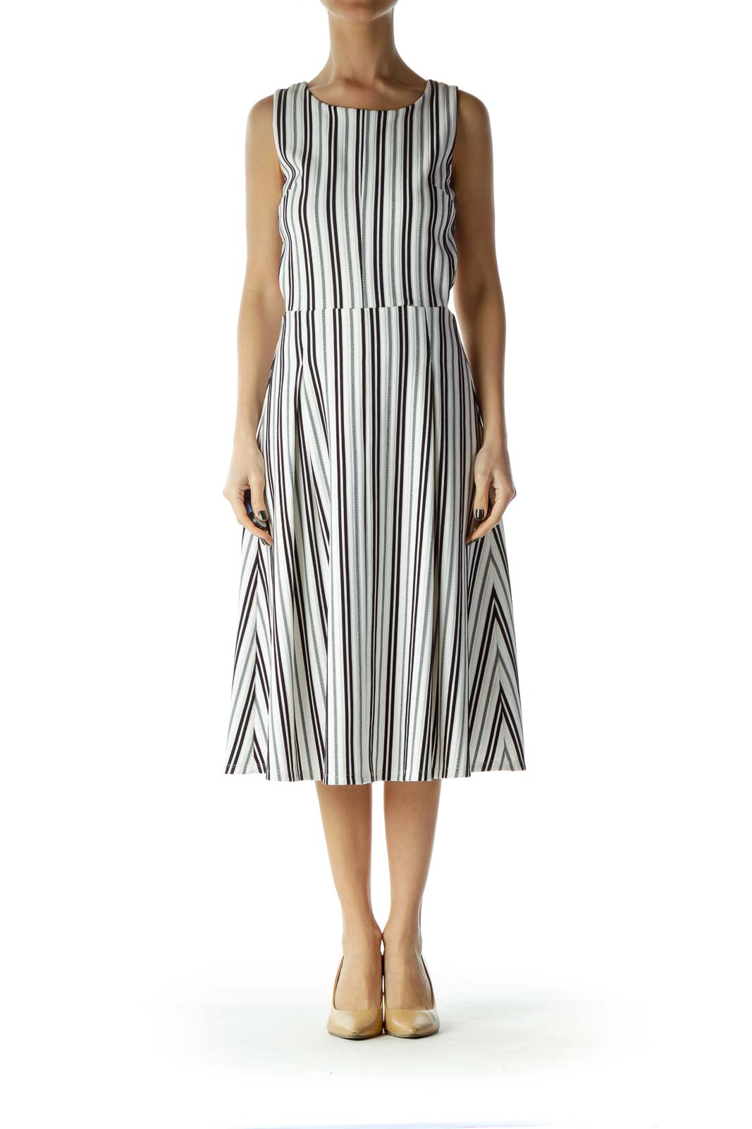 White and Black Striped Cut Out A-Line Dress