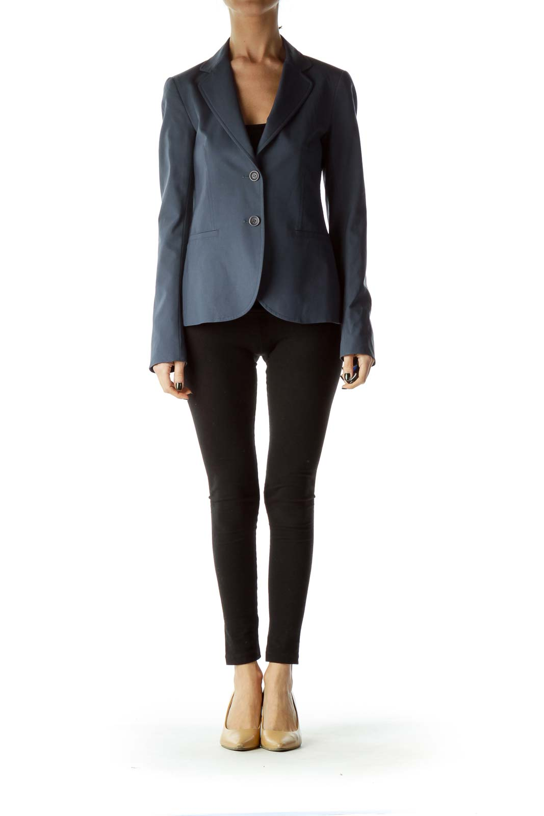 Blue Buttoned Pocketed Blazer