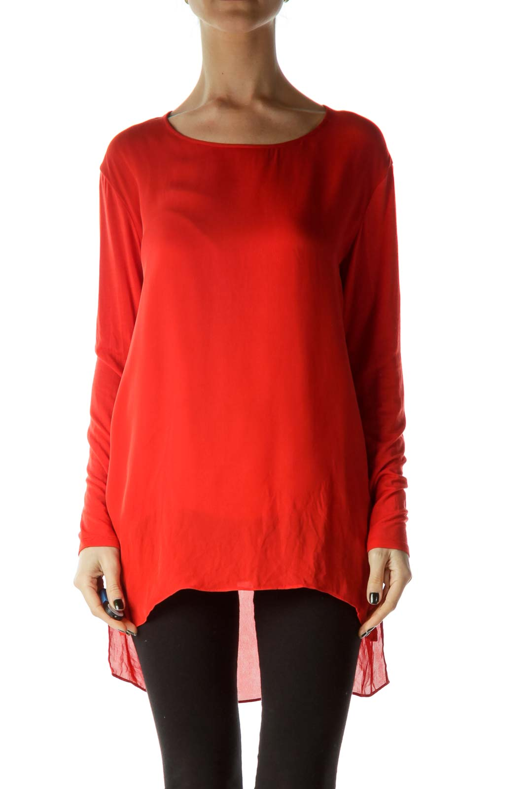 Red Boat Neck Silk Blouse