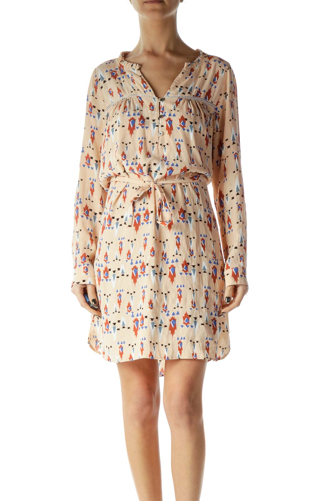 Pink Printed Belted Shift Dress