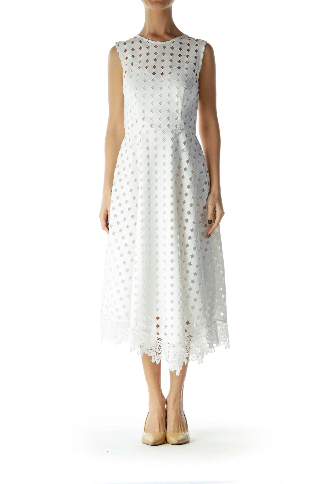 White Polka-Dot Lace Midi Dress